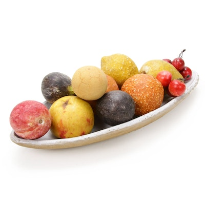 Alabaster Fruit with Ceramic Centerpiece Bowl