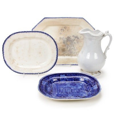 English Adams Feather Edge, Historical Staffordshire Ironstone Platter and Jug
