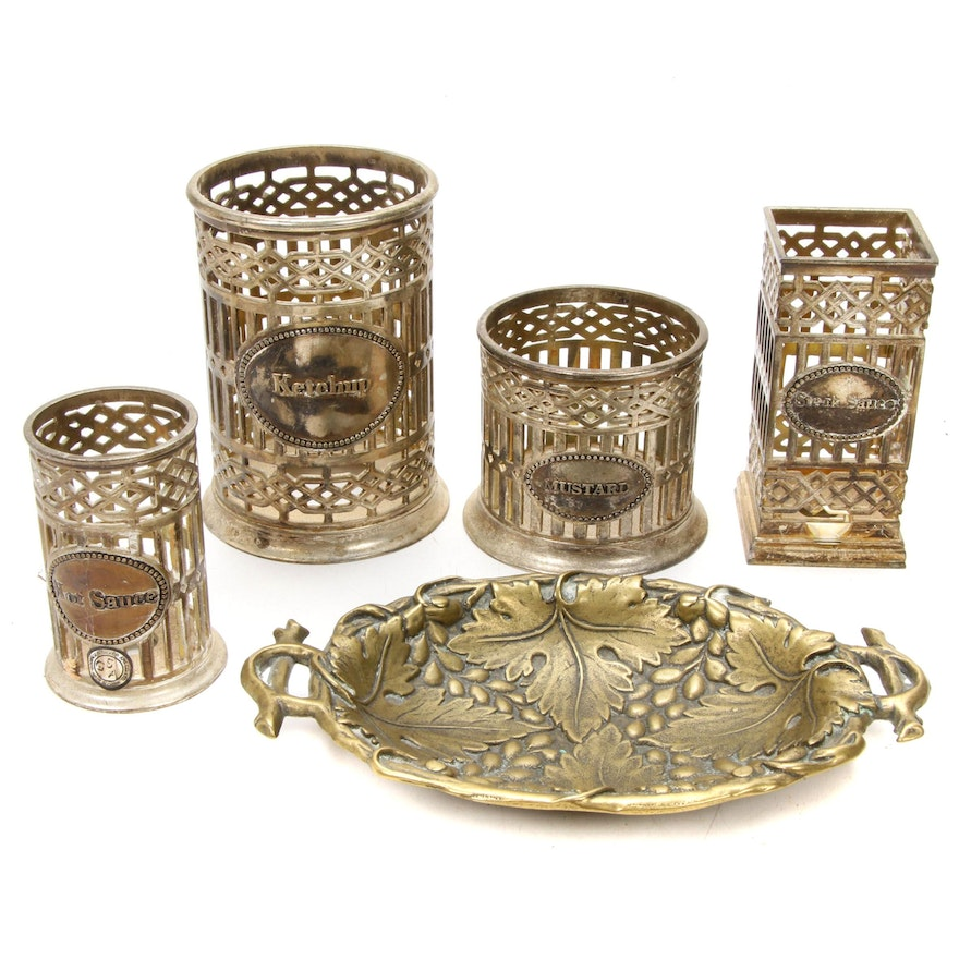 Godinger Silverplate Condiment Holders and Metal Dish