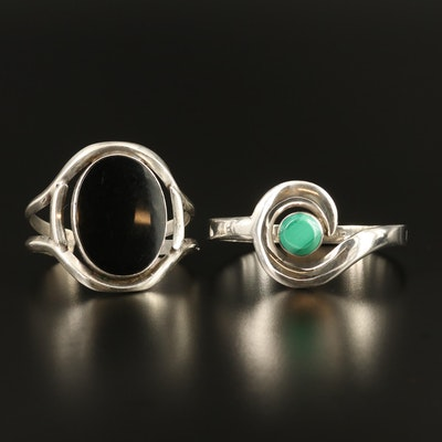 Sterling Silver Black Onyx and Malachite Cuffs