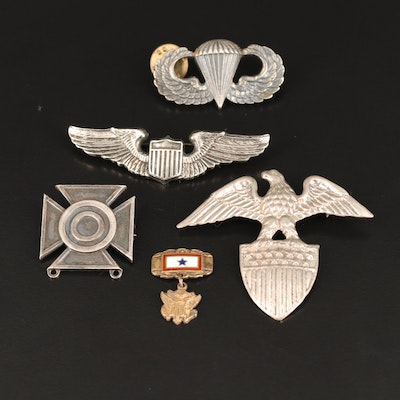 Vintage Sterling Military Pins Including Enamel Accents