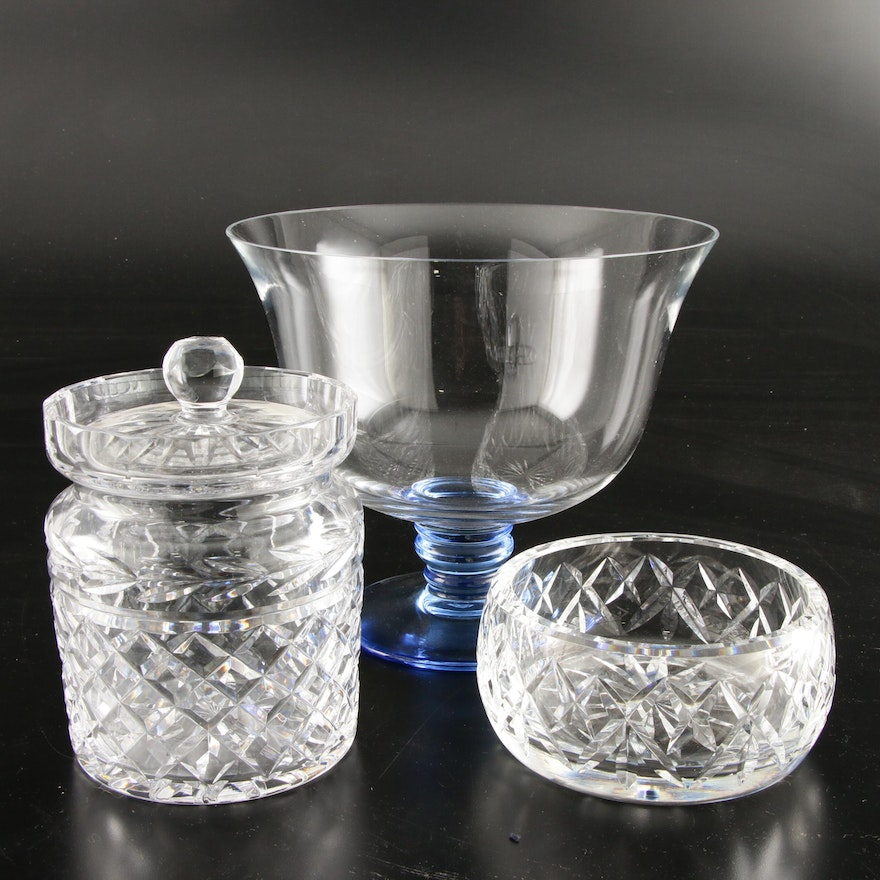 """Waterford Giftware Bowl, Lidded Jar with a Marquis by Waterford """"Bermuda"""" Bowl"""