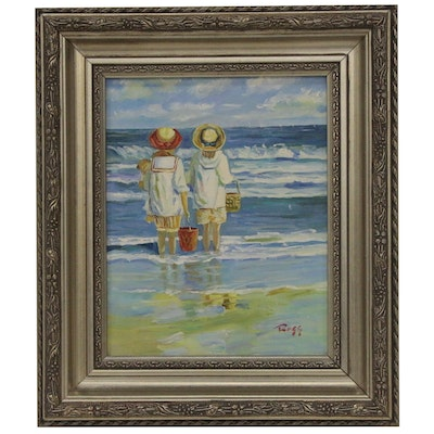 Oil Painting of Children in Ocean, 21st Century