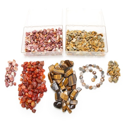 Carnelian, Tiger's Eye, and Agate Tumbled Stone Collection