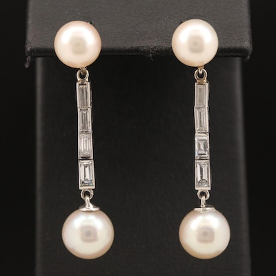 Platinum Pearl and Diamond Drop Earrings