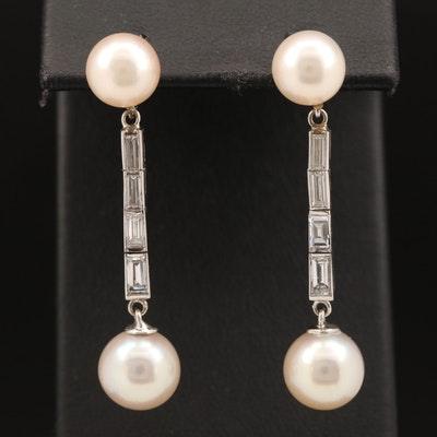 Platinum Pearl and Diamond Drop Earrings