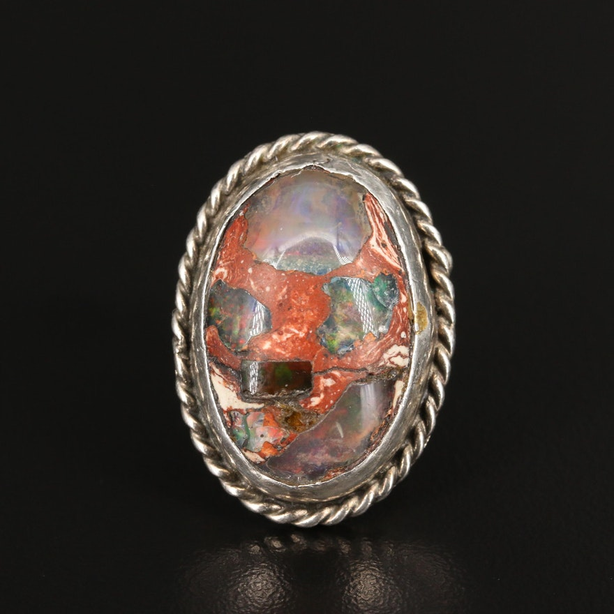 Sterling Silver Boulder Opal Ring with Braided Accent