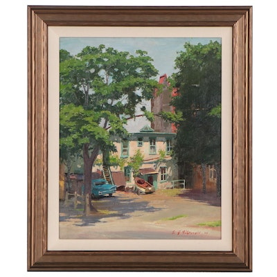 Edmond James Fitzgerald Oil Painting of Residential Scene, Late 20th Century