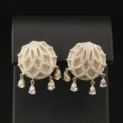 Sterling Cubic Zirconia Button Earrings with Dangles