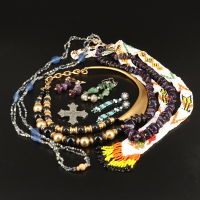 Assorted Jewelry Featuring Beaded Necklaces, Earrings and Cross Pendant
