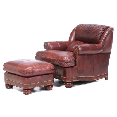 Hancock & Moore Burgundy Leather and Brass-Tacked Easy Armchair and Ottoman