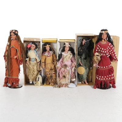 Traditions Doll Collection Native American Style Embellished Bisque Dolls