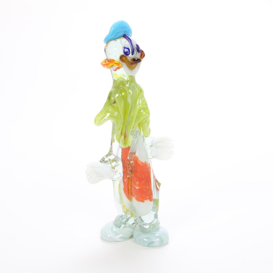 Murano Style  Art Glass Clown Figurine, Mid-Late 20th Century