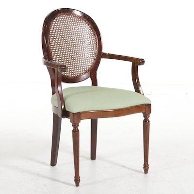 Louis XVI Style Caned Back Armchair, 20th Century