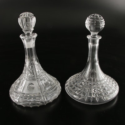 Glass Ship Decanters With Stoppers, Mid-20th Century