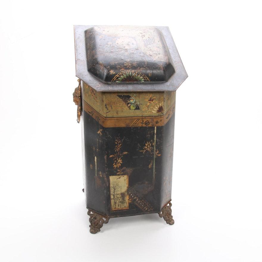 """The Jewett Vase"" Aesthetic Movement Tole Cast Iron Coal Scuttle, Late 19th C."