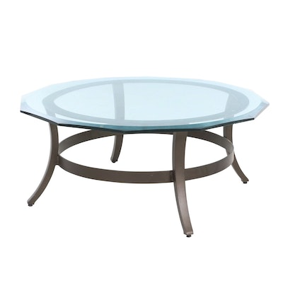 Metal Frame Coffee Table with Glass Top, 21st Century