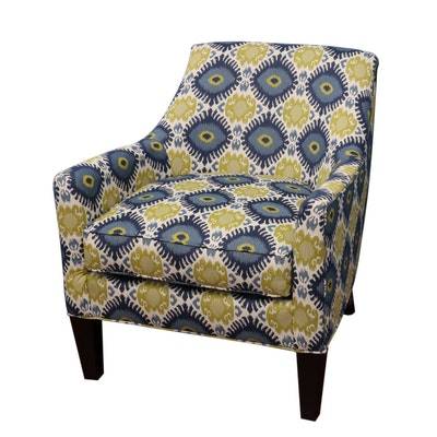 Broyhill Armchair with Ikat-Style Upholstery, 21st Century