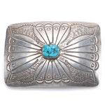 Navajo Style Sterling and Turquoise Belt Buckle