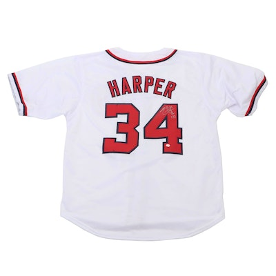 Bryce Harper Signed Washington Nationals Replica Baseball Jersey, COA