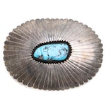 Indian Handmade Sterling Silver (I HM/SS) and Turquoise Shadowbox Belt Buckle