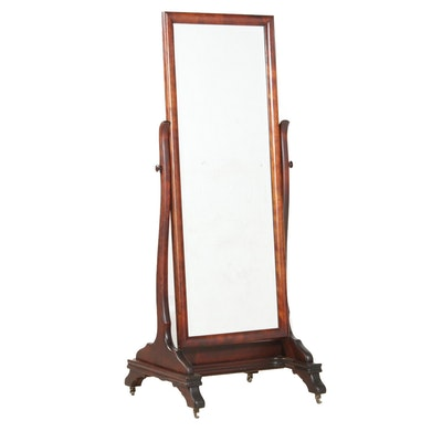 Victorian Style Walnut Cheval Mirror
