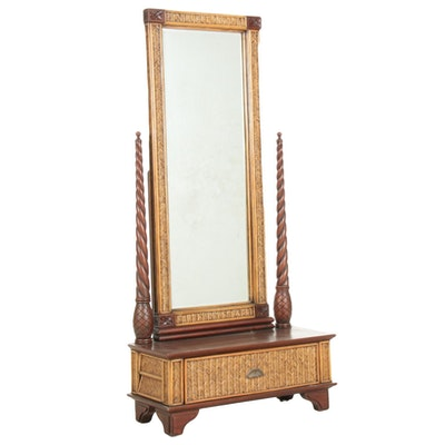 Wicker and Wood Hall Tree Bench with Mirror