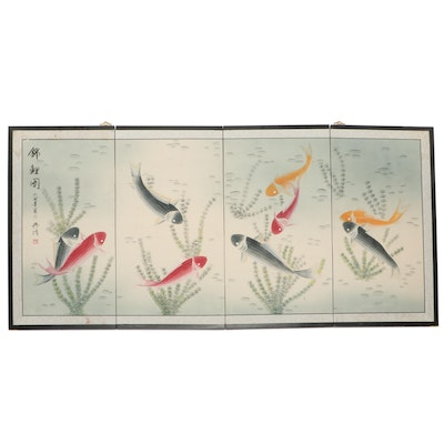 East Asian Hand-Painted Folding Screen with Coy Fish, Late 20th Century