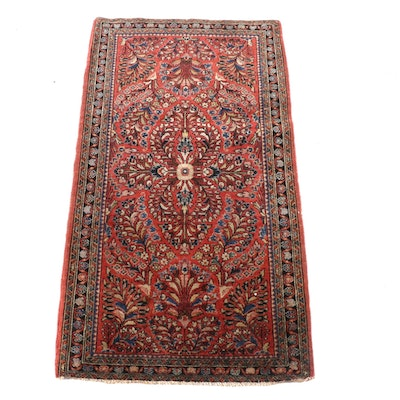 2'2 x 4'0 Hand-Knotted Persian Sarouk Wool Rug