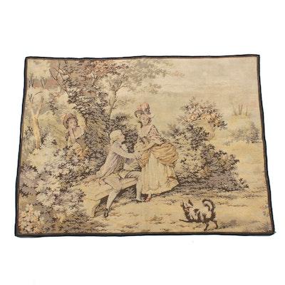 Machine-Woven Rococo Style Courtship Scene Tapestry, Mid-20th Century