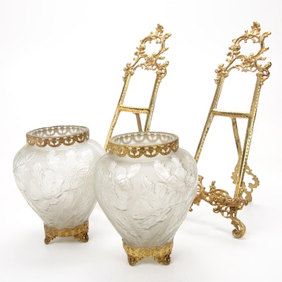 Consolidated Glass Poppy Vases with Ormolu Mounts and Brass Table Easels