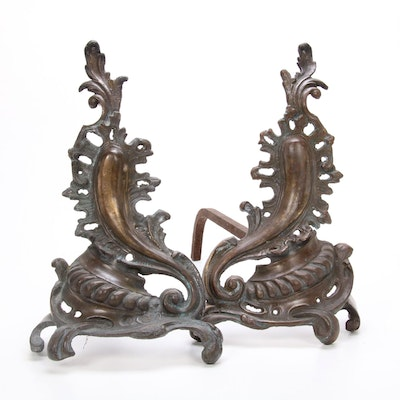 French Louis XV Style Bronze Scroll Andirons, Early to Mid 20th Century