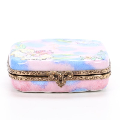 RCM Hand-Painted French Porcelain Make-Up Compact Limoges Box
