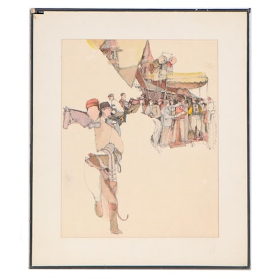 Paul Williams Ink and Watercolor Illustration of Horse Race, Mid 20th Century