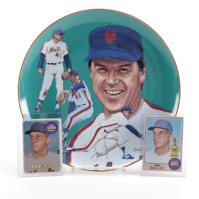 1968 and 1969 Topps Tom Seaver Baseball Cards and Gartlan Ceramic Plate