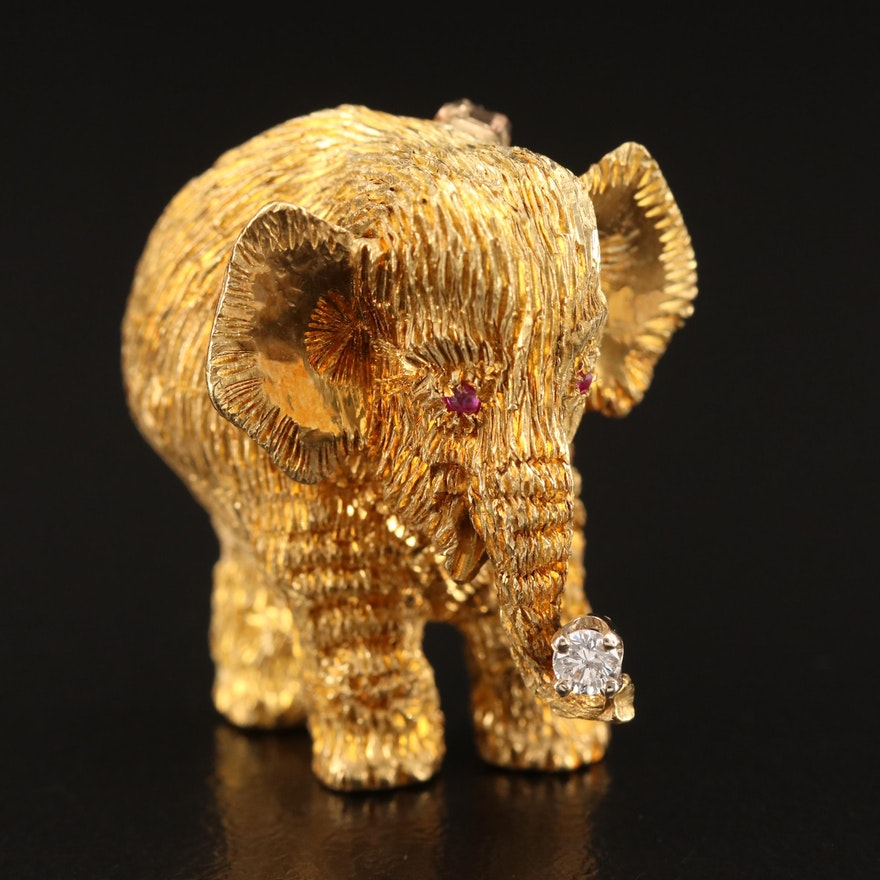 18K Diamond and Ruby Elephant Brooch