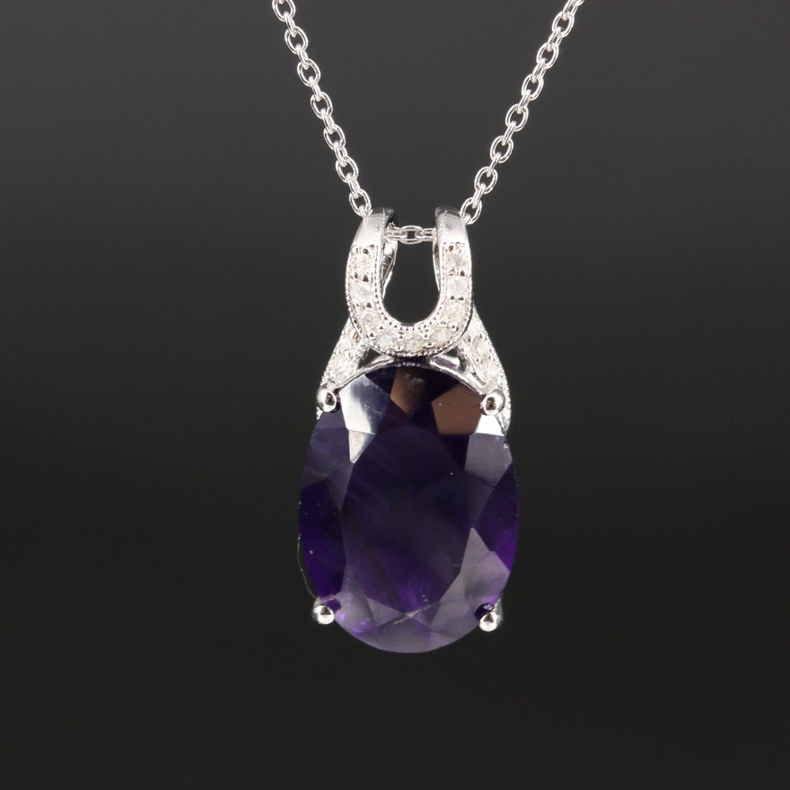 Sterling Amethyst and Diamond Pendant Necklace