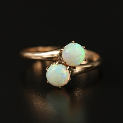 Antique Sterling Silver Opal Bypass Ring