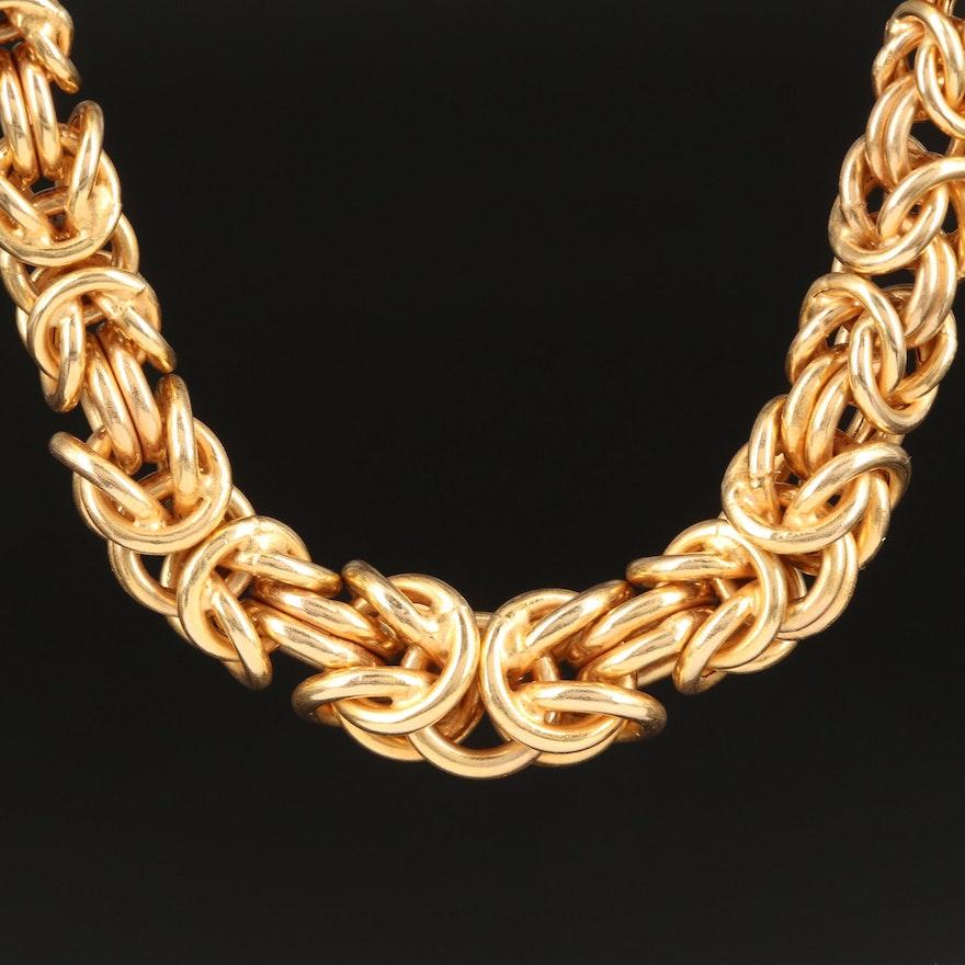 14K Graduated Byzantine Link Necklace