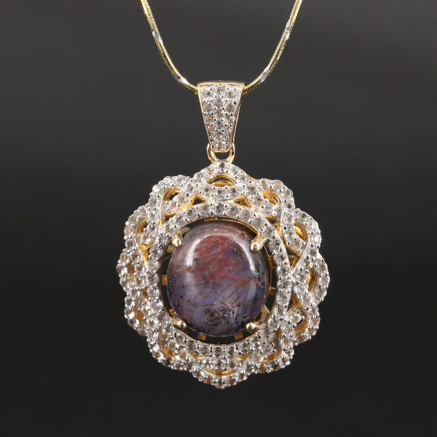 Sterling Silver Ruby and Topaz Necklace
