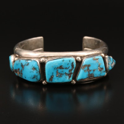 David Taliman Navajo Diné Sterling Turquoise Cuff with Stampwork Detail