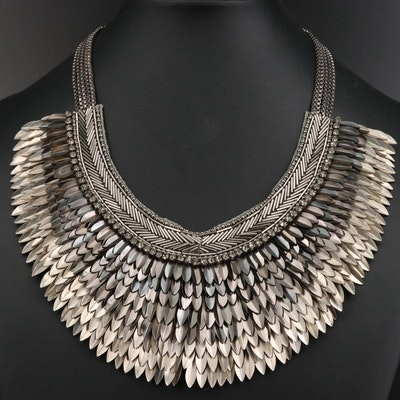 Stella & Dot Feather Motif Bib Necklace with Rhinestone Accents