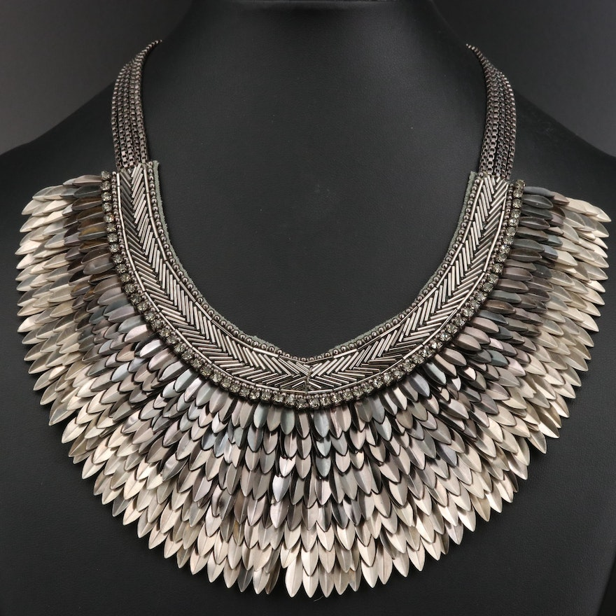 Stella & Dot Feather Motif Bib Necklace with Rhinestone Accents