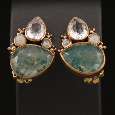 Stephen Dweck Moss Agate, Rock Quartz Crystal and Moonstone Clip-On Earrings