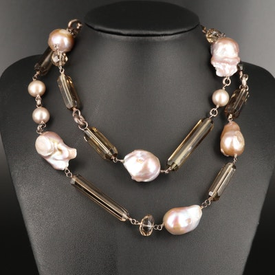 Stephen Dweck Sterling Silver Pearl and Smoky Quartz Link Necklace