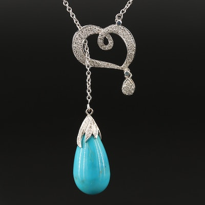 18K Lariat Style Pendant Necklace with Turquoise, Diamond, Topaz and Sapphire
