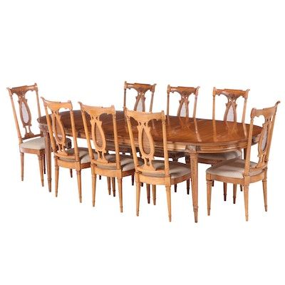 J L Metz Walnut Veneer Dining Table, Set of Eight Side Chairs, Mid/Late 20th C