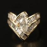 14K 2.44 CTW Diamond Chevron Ring