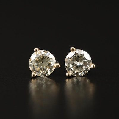14K 1.00 CTW Martini Set Diamond Stud Earrings
