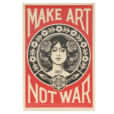 """Shepherd Fairey Offset Print """"Make Art Not War,"""" 2020"""